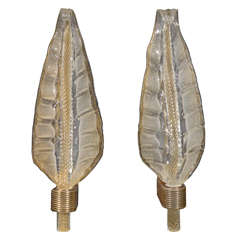 Pair of Exquisite Murano Glass Leaf Sconces by Barovier & Toso