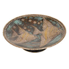 Exquisite Silvered Bronze Footed Bowl with Fish Design by Loys