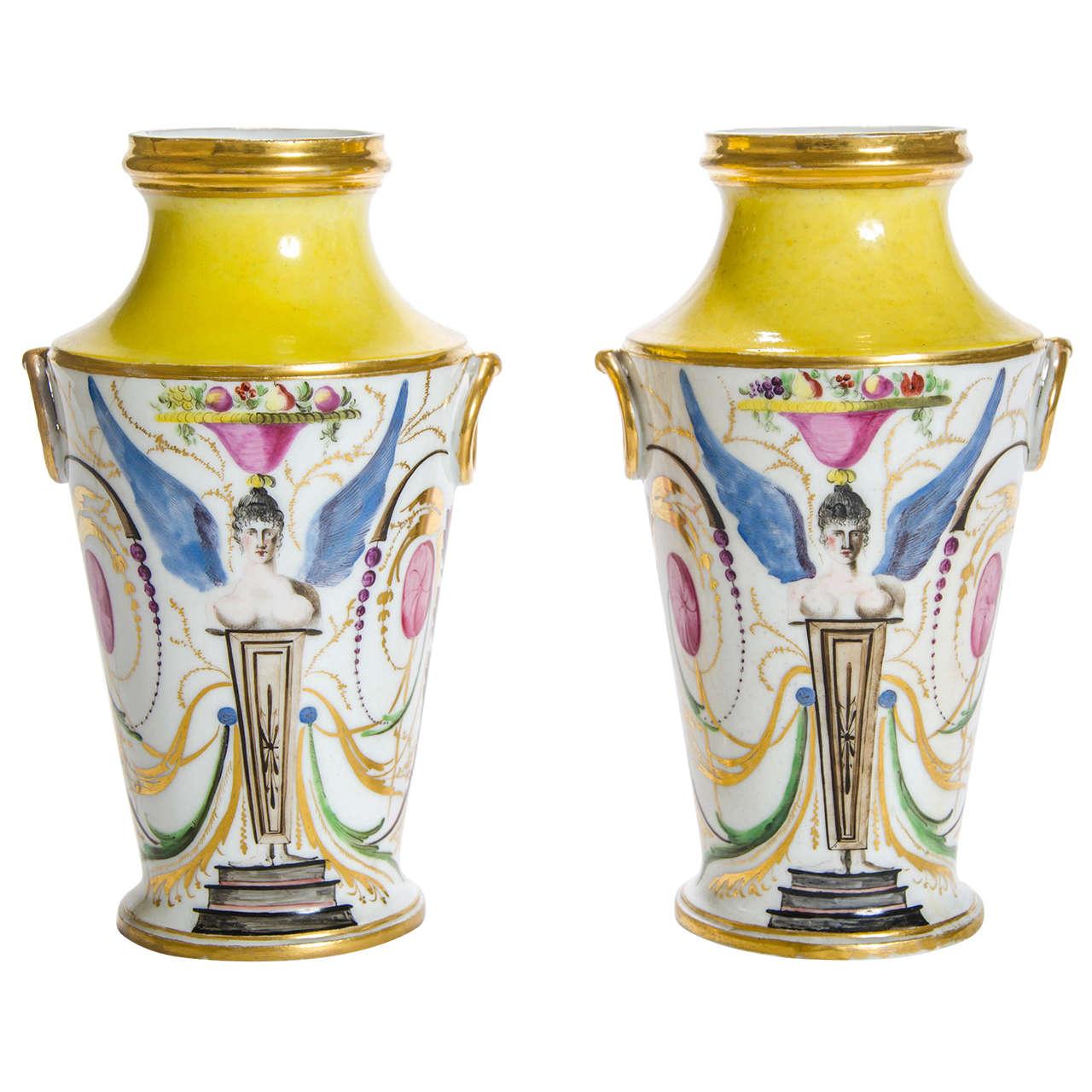 Pair of Yellow and White Ground Porcelain Vases, English, circa 1800
