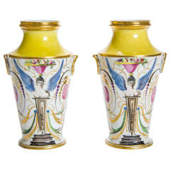 Pair of Yellow and White Ground Porcelain Vases, English, circa 1800