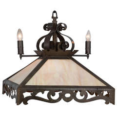 Combination Rustic Gas and Electric Slag Glass Chandelier