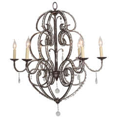 Italian Crystal Eight-Light Chandelier with Soft Scrolling Arms