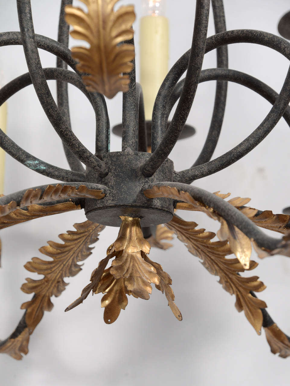 Wrought iron nine light iron chandelier with gold leaf acanthus mid 20th century wrought iron nine light iron chandelier with gold leaf acanthus aloadofball Choice Image