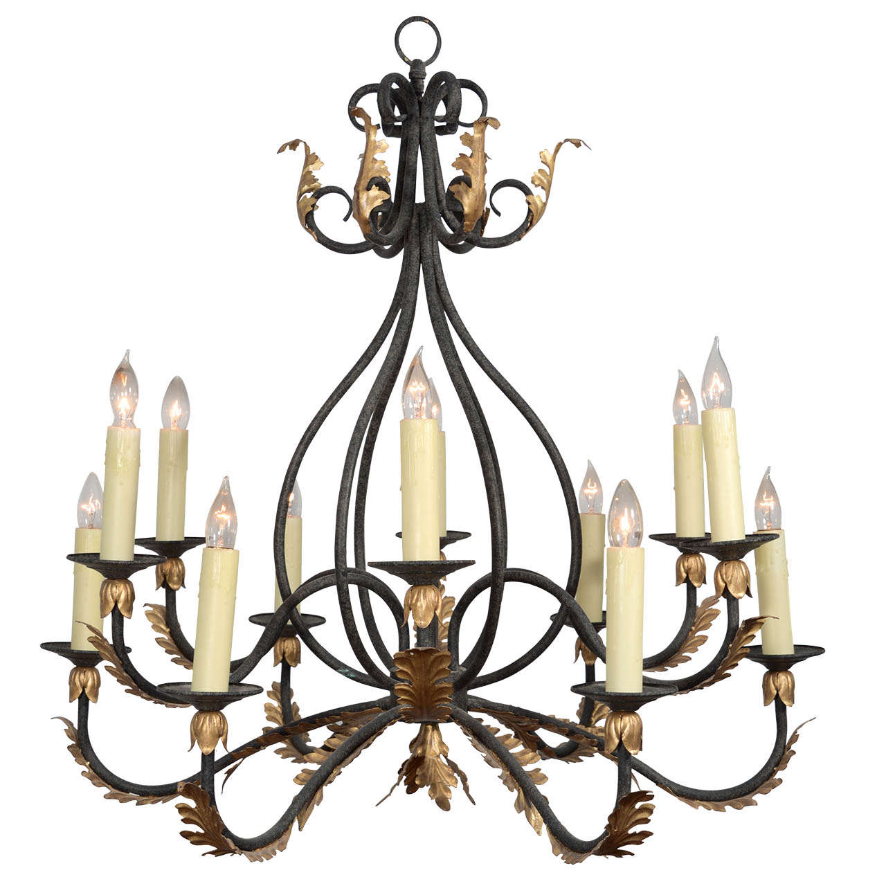 Wrought iron nine light iron chandelier with gold leaf acanthus wrought iron nine light iron chandelier with gold leaf acanthus leaf design 1 arubaitofo Choice Image