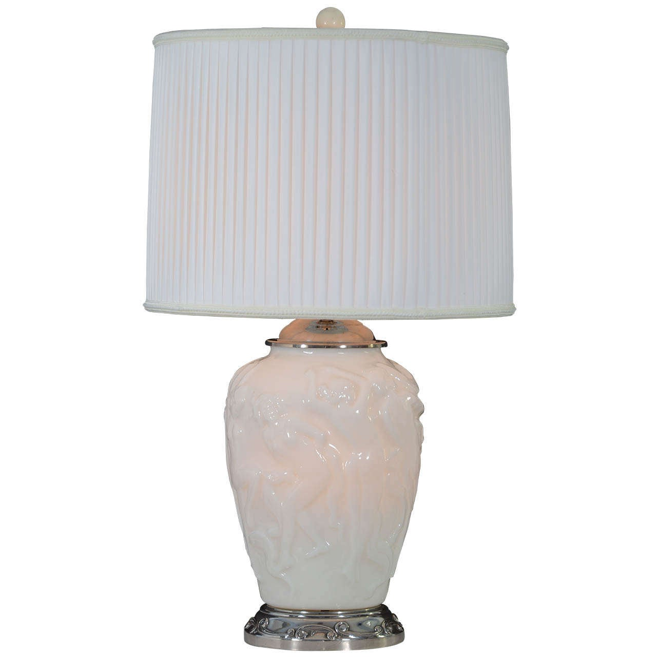 Art Deco Opal Glass Vase, Mounted And Wired As A Table Lamp For Sale
