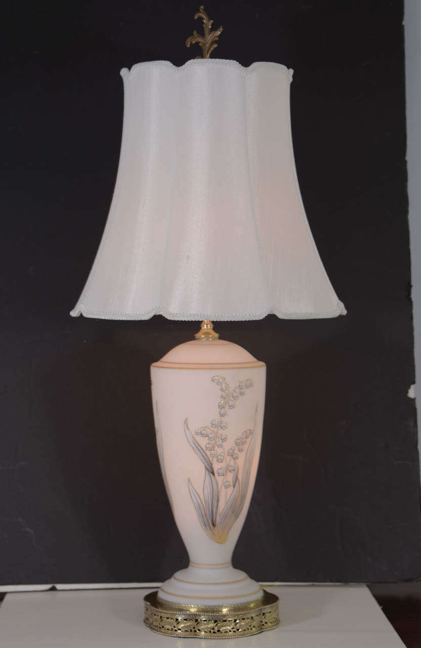 1960s Opal Glass Table Lamp With Hand Painted Design In Gold For Sale At 1stdibs