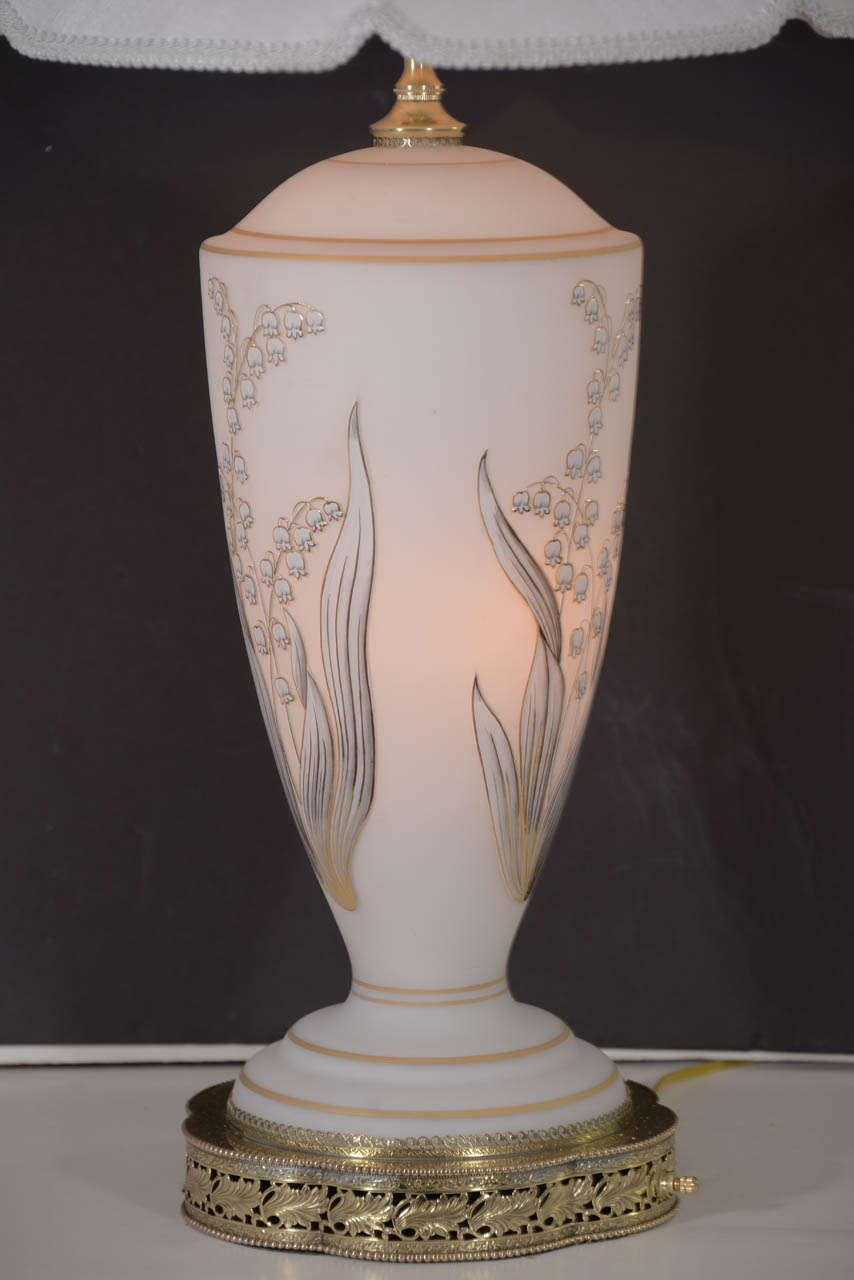 1960s Opal Glass Table Lamp With Hand Painted Design In
