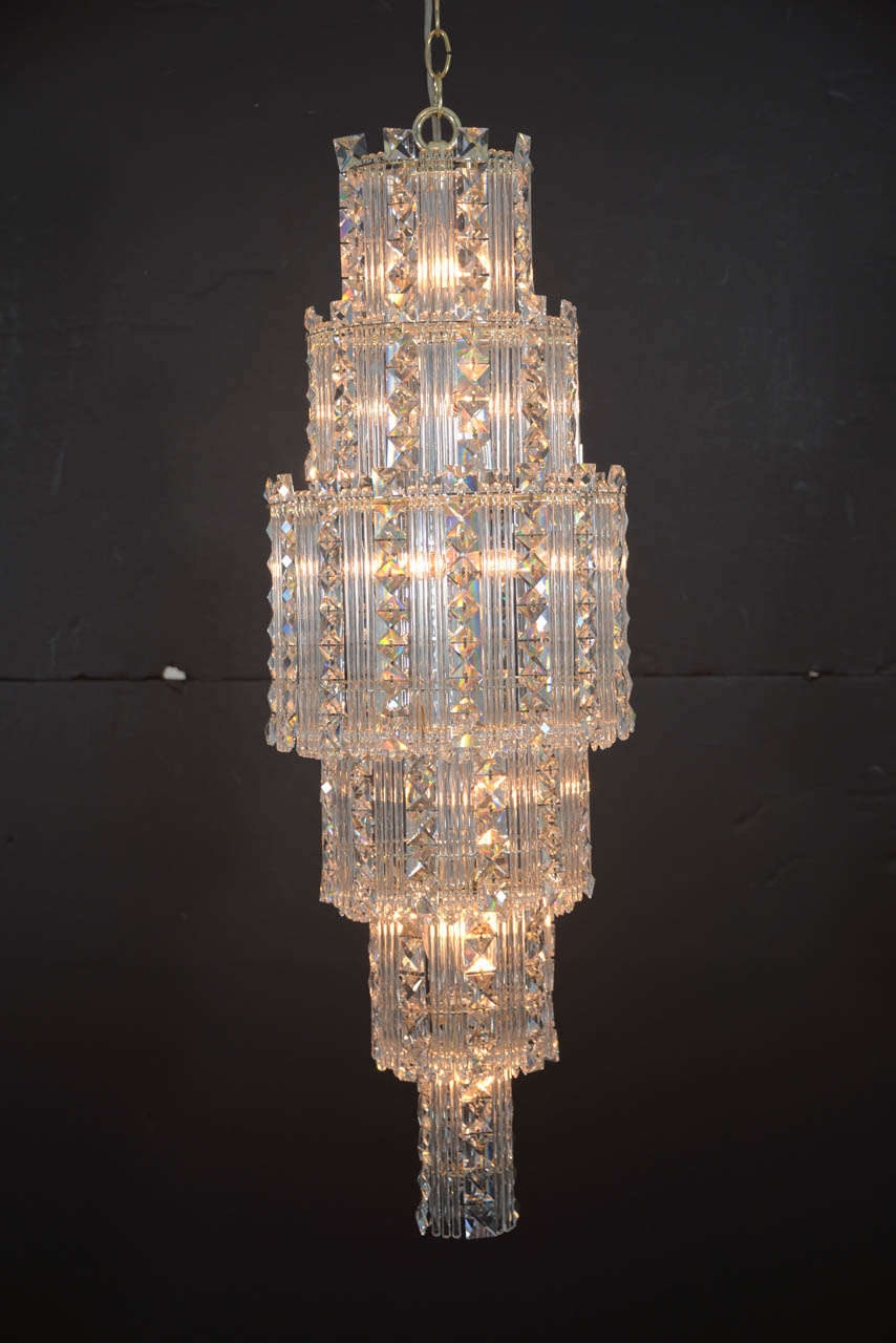 Mid-Century Modern Crystal Chandelier For Sale at 1stdibs