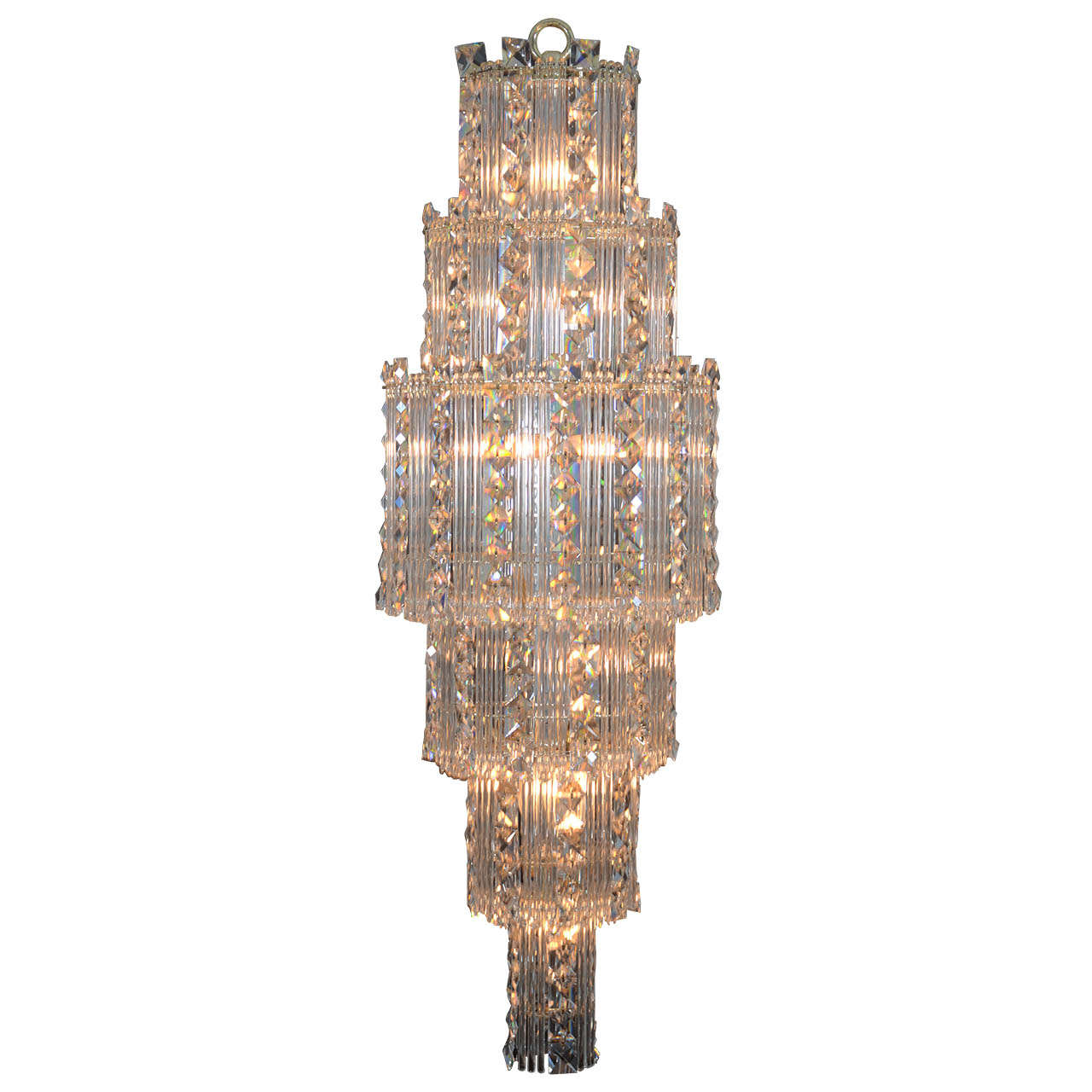 mid century modern crystal chandelier for sale at 1stdibs. Black Bedroom Furniture Sets. Home Design Ideas
