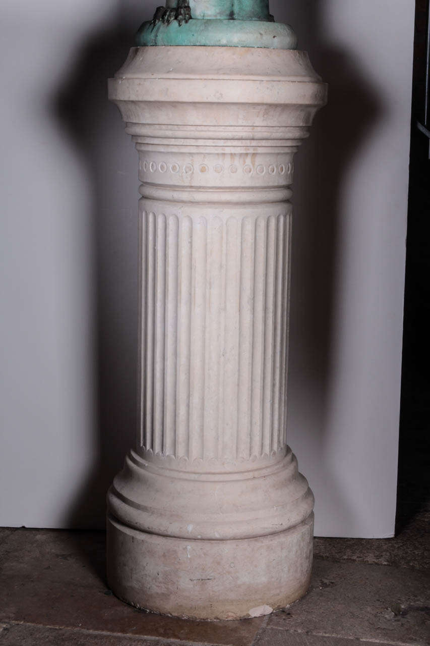 French, circa 1900 fluted marble pedestal