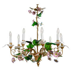 Charles X Romantic Bunch of Flowers Chandelier in Glass Porcelain and Ormolu
