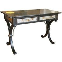 Jansen Style Verre Eglomise Decorated Ebonized French Desk