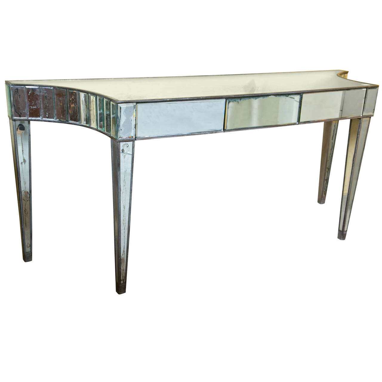 hollywood regency style mirrored console table for sale at 1stdibs. Black Bedroom Furniture Sets. Home Design Ideas