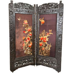Two Panel Chinoiserie Decorated Embroidered Screens