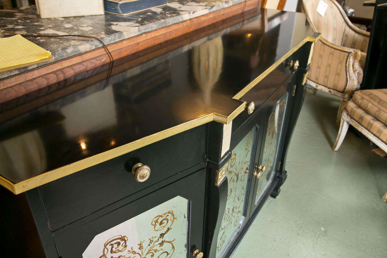 Argentine Hollywood Regency Style Ebonized Sideboard by Jansen For Sale