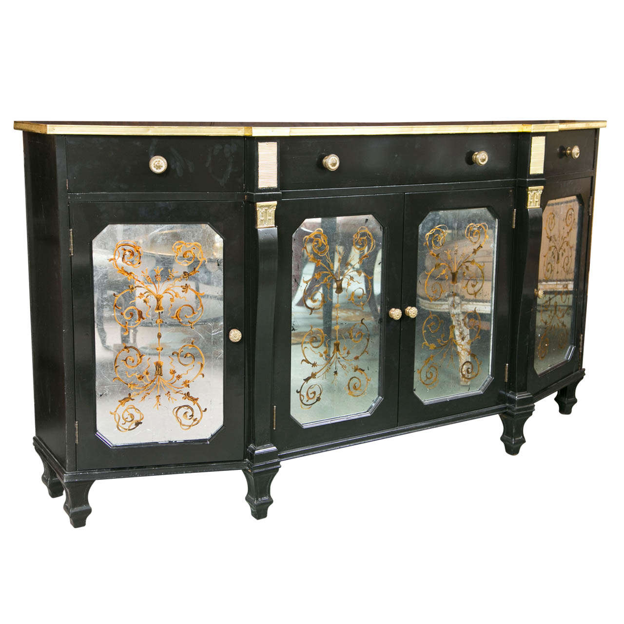 Hollywood Regency Style Ebonized Sideboard by Jansen For Sale
