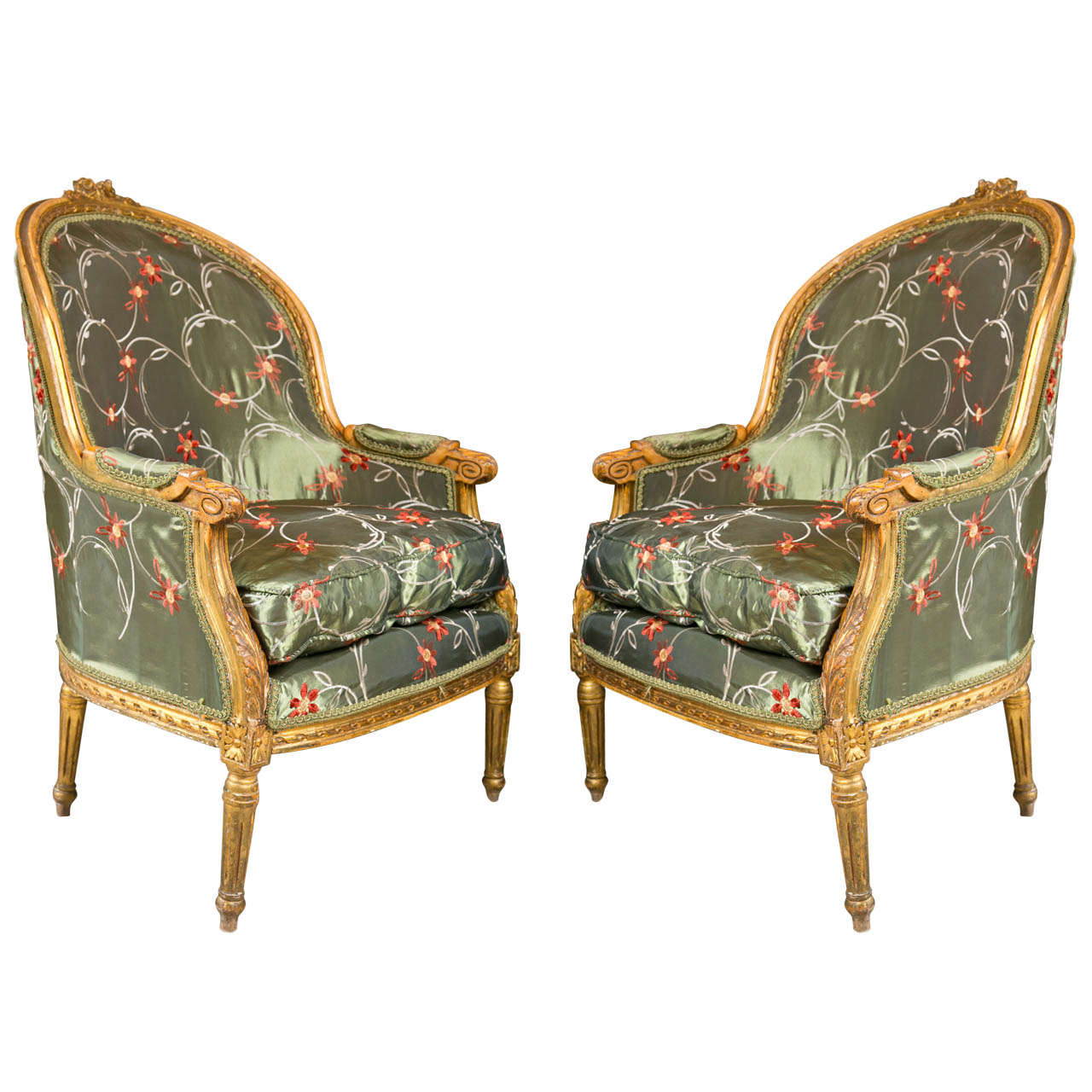 Antique louis xvi chair - Pair Of French Louis Xvi Style Bergere Chairs By Jansen 1