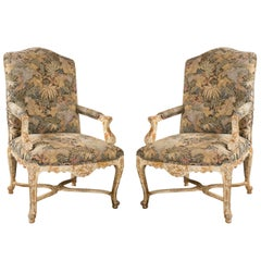 Pair of French Louis XV Style Armchairs by Jansen