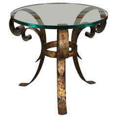 Lovely Side Table of Hammered Brass with Round Glass Top