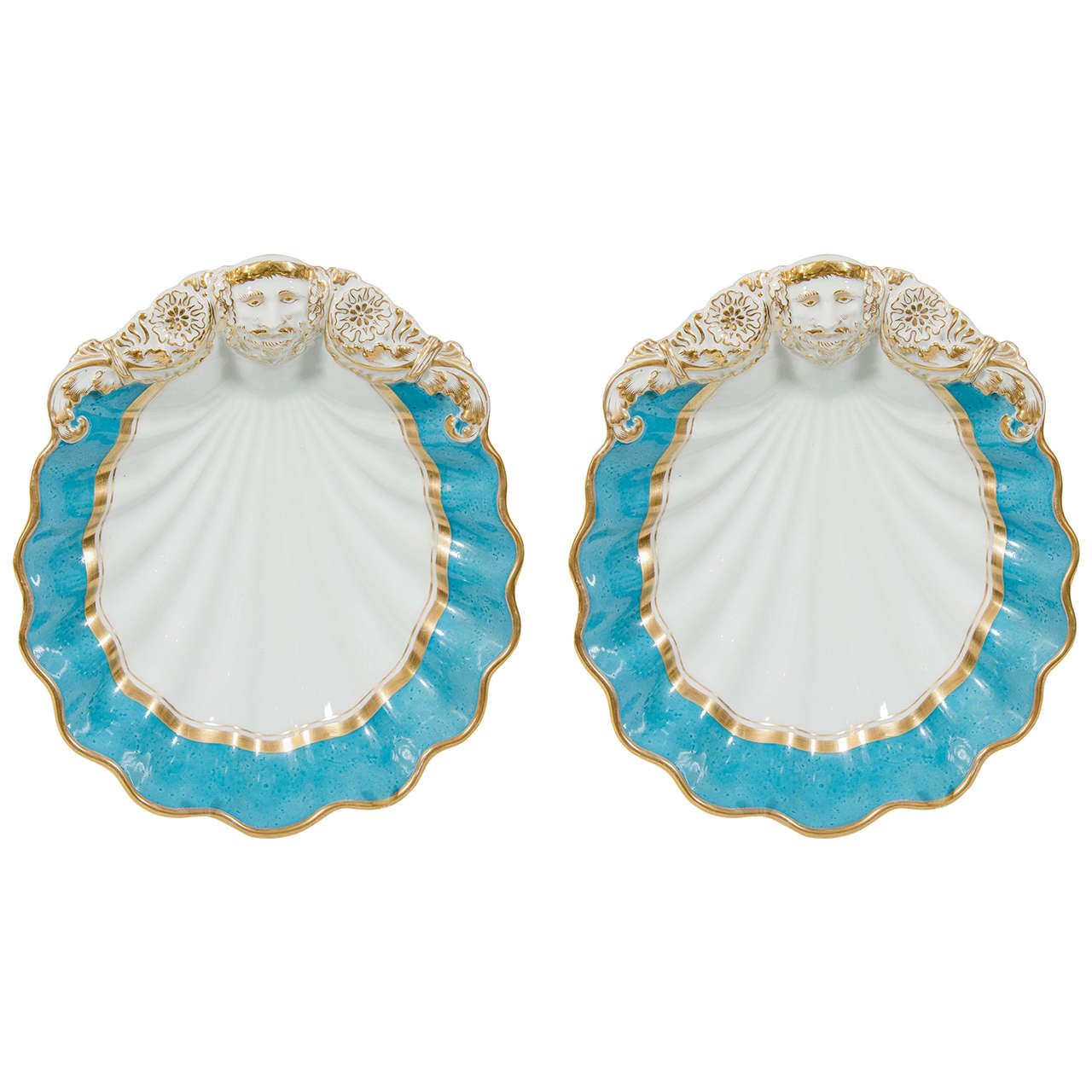 Pair of paris porcelain turquoise shell shaped dishes at for Cuisine turquoise