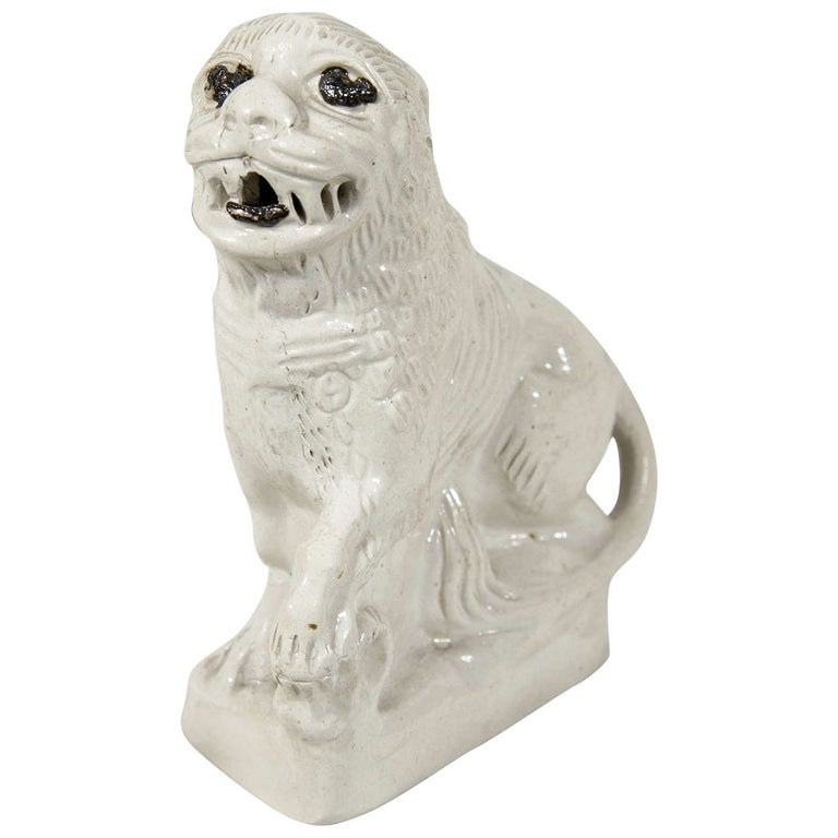English Salt Glazed Pottery  Lion Mid-18th Century Made circa 1760 For Sale