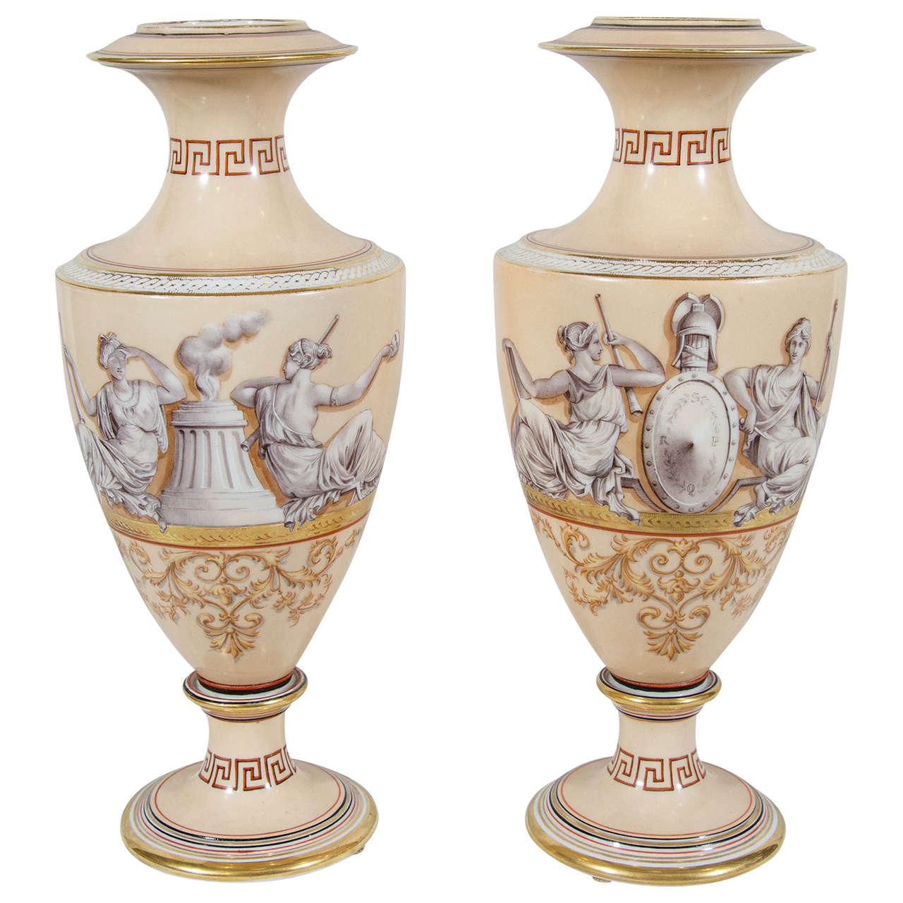 Pair of antique porcelain neoclassical vases with greek key detail pair of antique porcelain neoclassical vases with greek key detail for sale reviewsmspy