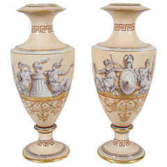 Neoclassical Vases with Greek Key Detail