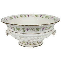 Large Antique Wedgwood Creamware Bowl with Purple Grapes