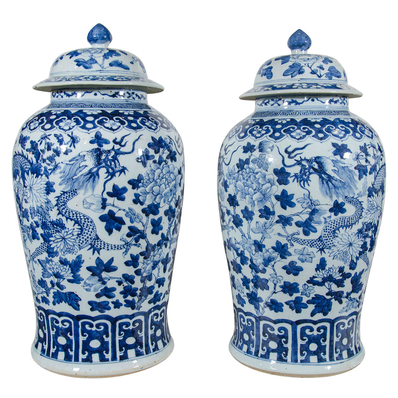 Pair Of Large Blue And White Chinese Porcelain Vases With Dragons For