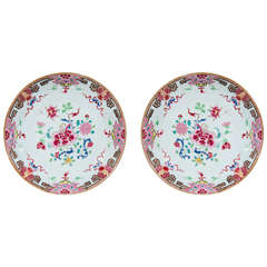 Pair Antique Chinese Porcelain Dishes with Pink Famille Rose Decoration