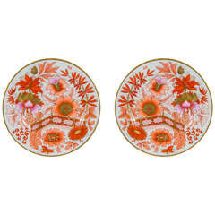 Pair of Worcester Dishes Painted in Famille Rose Pink and Orange