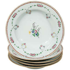 Set of a Dozen Chinese Famille Rose Soup Dishes