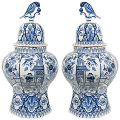Pair of Dutch Delft Blue and White Covered Vases
