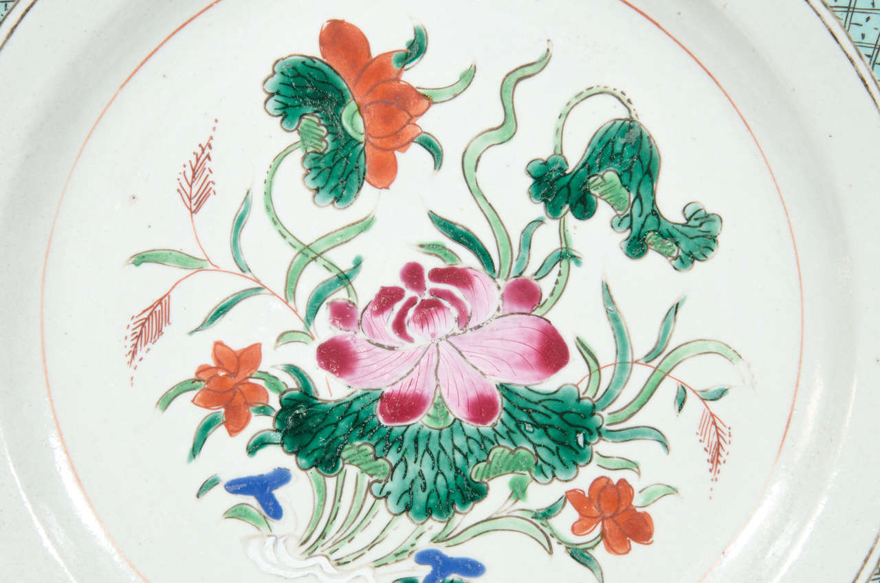Antique chinese porcelain dish with famille rose colors at 1stdibs a large chinese famille rose charger with pink lotus and other flowers painted in pastel izmirmasajfo