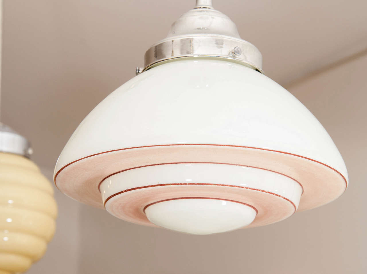 pink and white mid century modern light fixture for sale