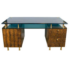 Important Desk by Raphael, Blue Saint Gobain Glass, Palm, France, circa 1960