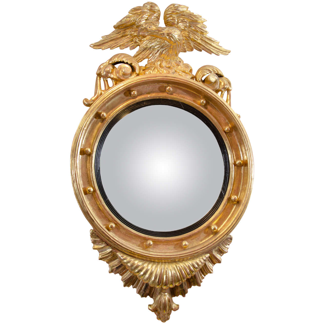 Regency convex mirror with eagle crest at 1stdibs for Convex mirror