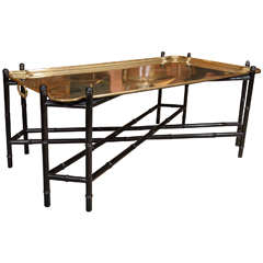 Mid-Century Large Brass Tray Table