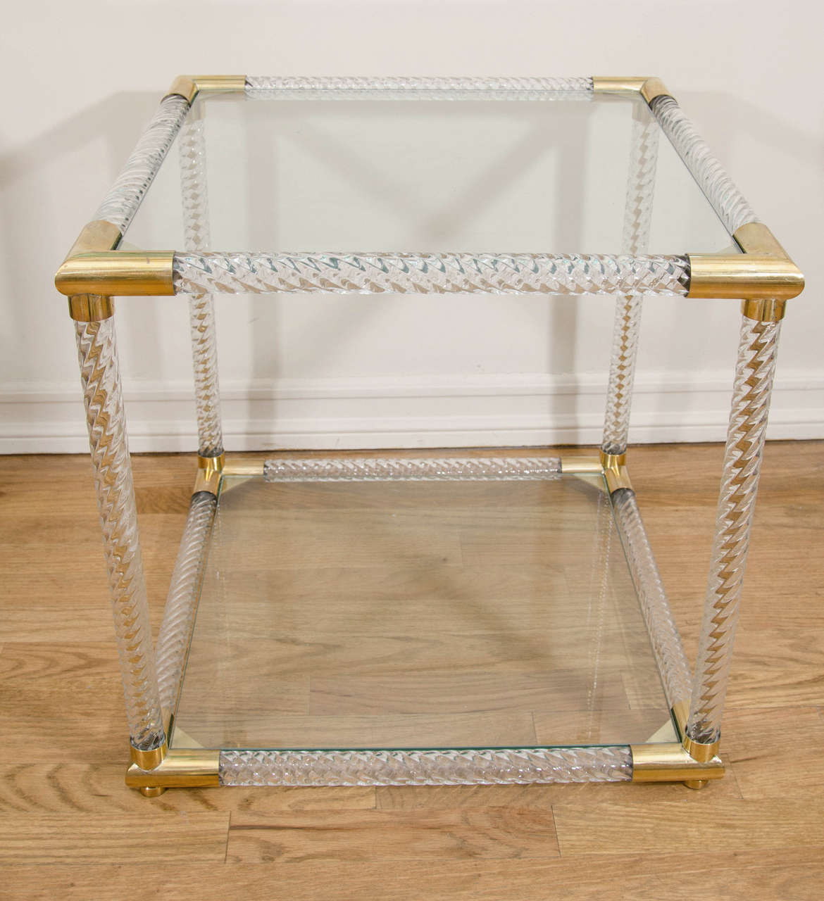 Pair of square brass and fluted Murano glass two-tier side tables.