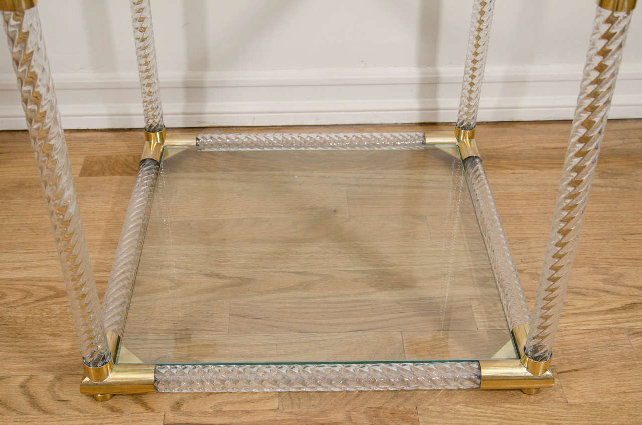 Italian Pair of Two-Tier Fluted Glass Side Tables For Sale