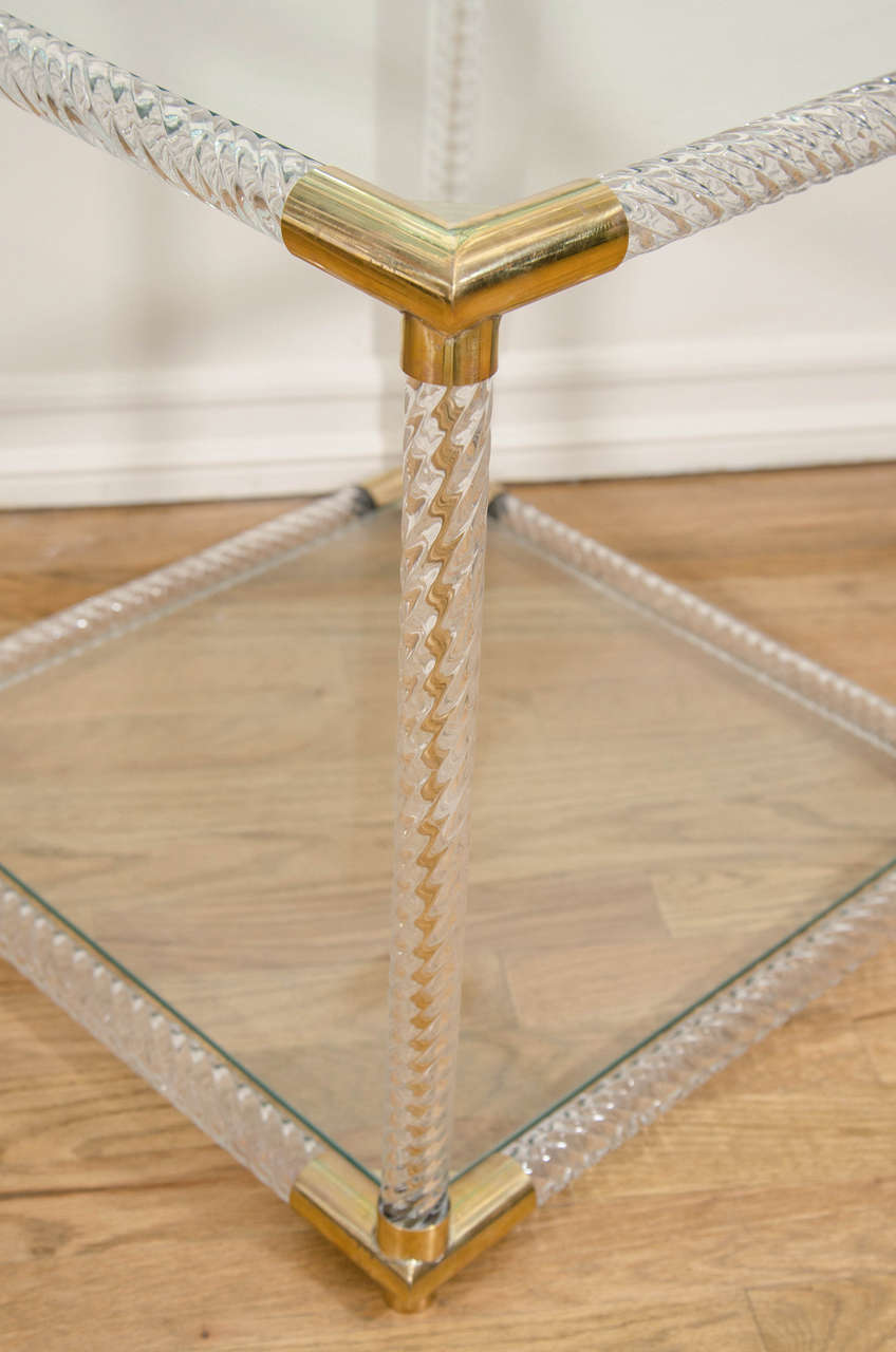 Pair of Two-Tier Fluted Glass Side Tables In Good Condition For Sale In New York, NY