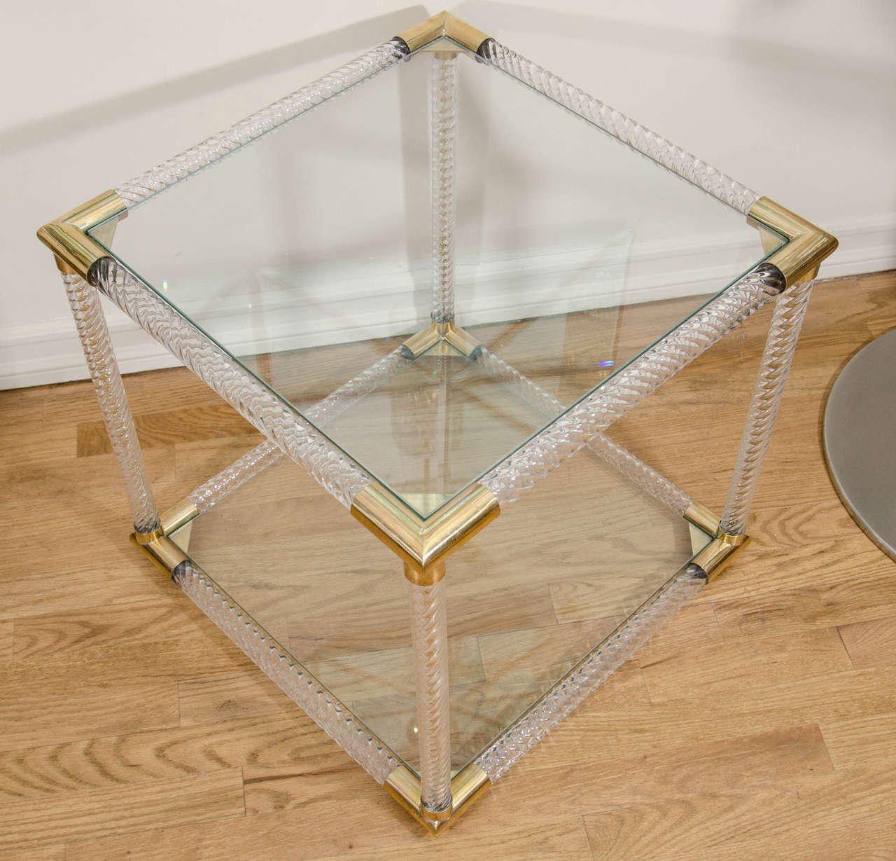 Mid-20th Century Pair of Two-Tier Fluted Glass Side Tables For Sale