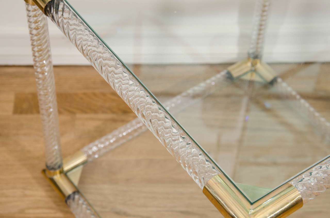 Brass Pair of Two-Tier Fluted Glass Side Tables For Sale