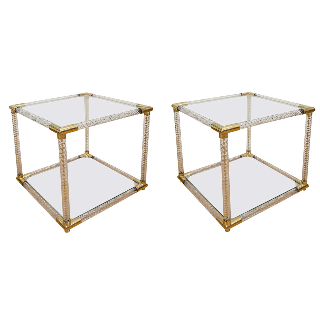 Pair of Two-Tier Fluted Glass Side Tables For Sale