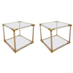 Pair of Two-Tier Fluted Glass Side Tables