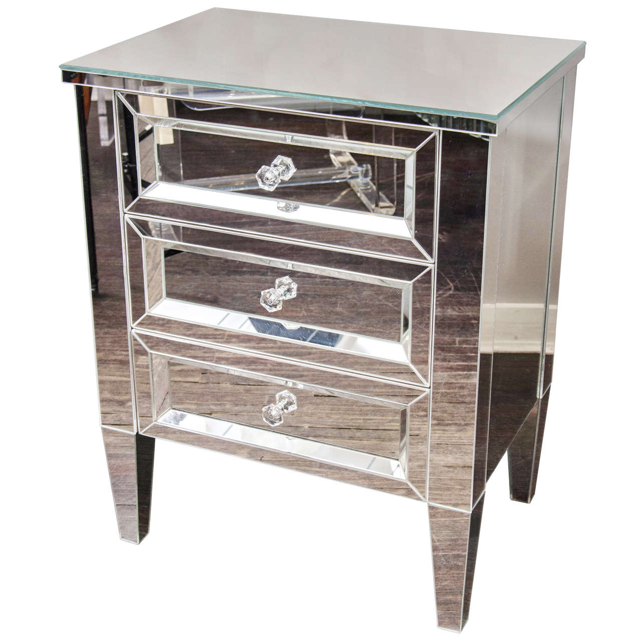 Beautiful Custom Mirrored Nightstand For Sale at 1stdibs