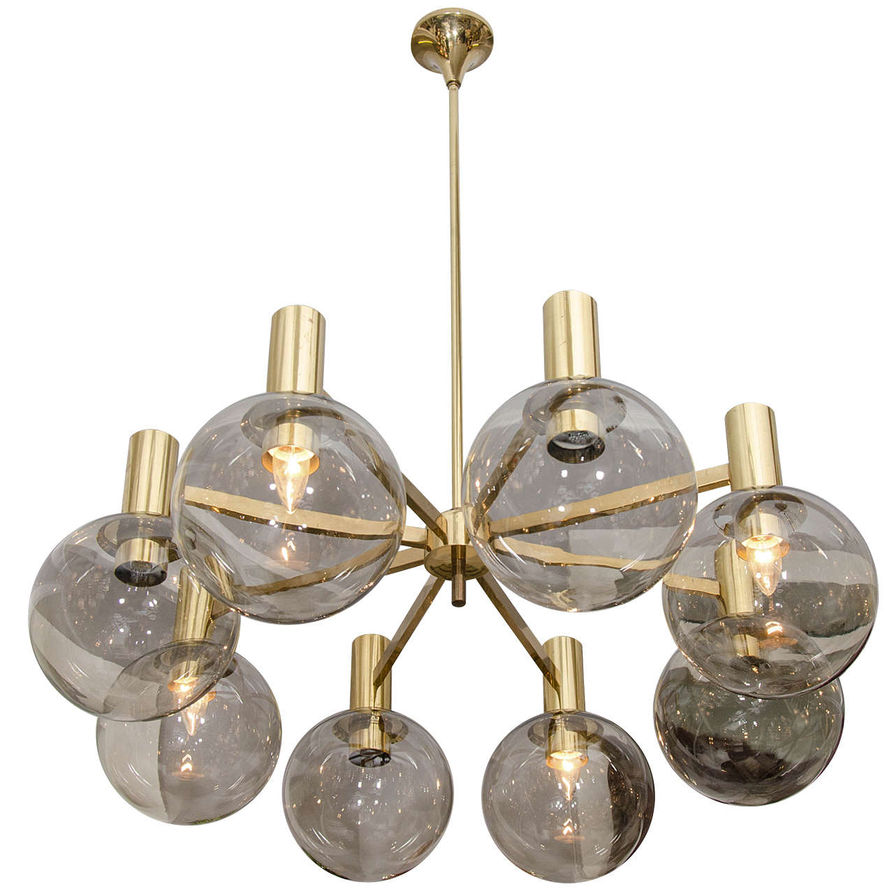 Hans Agne Jakobson Smoke Glass Globe And Brass Chandelier For
