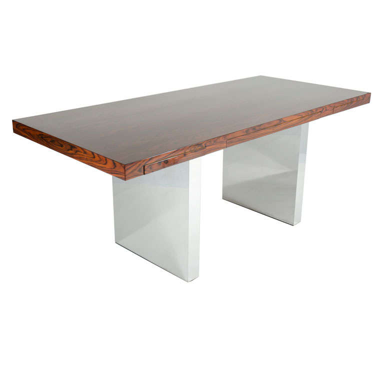 Rosewood and Chrome Executive Desk by Roger Sprunger for Dunbar