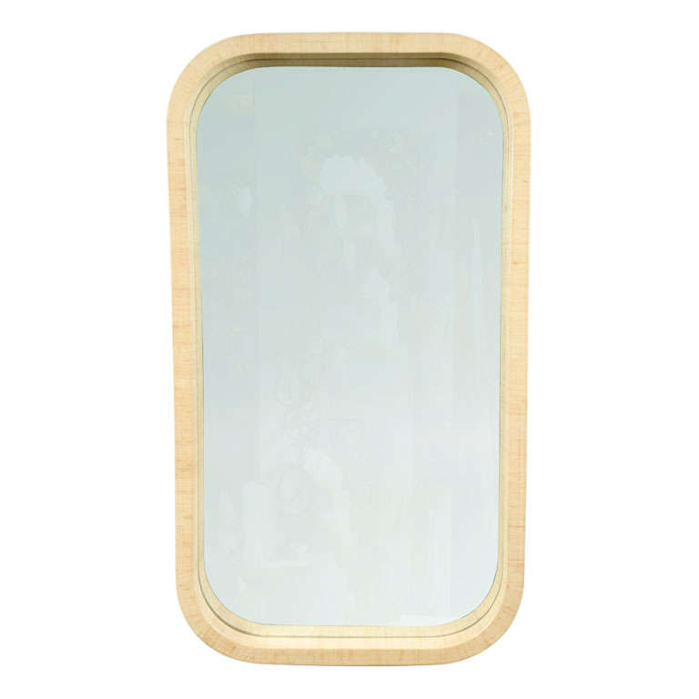 Radius Corner Grass Cloth Wrapped Frame Mirror For Sale at 1stdibs