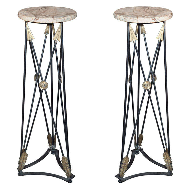 Pair Marble Topped  Iron  Torchieres